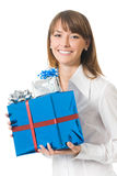Businesswoman with gifts Stock Images