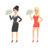 Businesswoman and girl holding money and smiling Royalty Free Stock Images