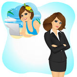 Businesswoman girl longing to work remotely. Attractive sad businesswoman girl longing to work remotely to travel and work from anywhere stock illustration