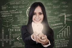 Businesswoman give light bulb in class Royalty Free Stock Photos