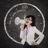Businesswoman give order to work smarter Royalty Free Stock Photo