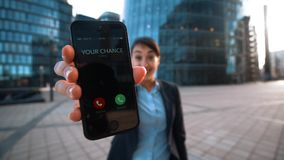 Businesswoman give phone.Your chance calling. stock footage