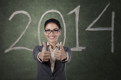 Businesswoman give two thumbs up Stock Photos
