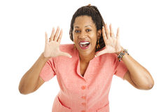 Businesswoman Gives a Shout Stock Photography