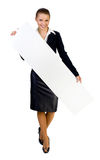 Businesswoman giving big card. Isolated on white Royalty Free Stock Photo