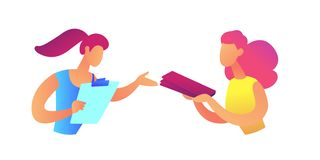 Businesswoman giving document file to coworker vector illustration. Collaboration and colleagues, file sharing and office workers, employer and employee stock illustration