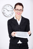 Businesswoman giving files. Stock Images