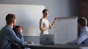 Attractive millennial woman business coach giving presentation to company members. Businesswoman giving flip chart presentation explains idea to company staff or stock video footage