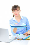 Businesswoman giving folder. With notes Stock Image