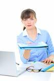 Businesswoman giving folder Stock Image
