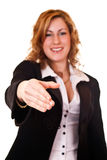 Businesswoman giving her hand Stock Image