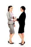 Businesswoman giving a house to her partner. Royalty Free Stock Photography
