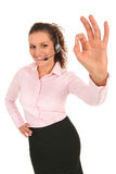 Businesswoman giving OK gesture Stock Photos