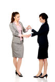 Businesswoman giving a plane to her partner. Royalty Free Stock Photos