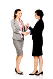 Businesswoman giving a plane to her partner. Royalty Free Stock Image