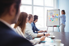 Businesswoman giving presentation in meeting room Stock Images
