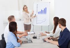 Businesswoman giving presentation to colleagues Stock Photo