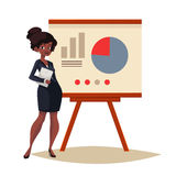 Businesswoman giving presentation using a board. African Businesswoman giving presentation with a board, sketch style vector illustration . Confident black Stock Images