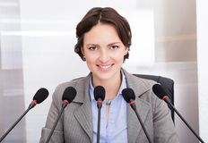 Businesswoman giving speech Royalty Free Stock Images