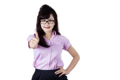 Businesswoman giving thumb up isolated Royalty Free Stock Photography
