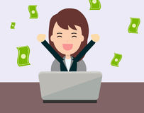 Businesswoman glad to earning money from online Stock Image