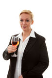 Businesswoman with glass of wine Royalty Free Stock Photography