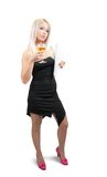 Businesswoman with glass of wine and documents Stock Image
