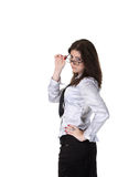 Businesswoman in a glass Royalty Free Stock Photos