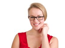 Businesswoman with glasses. Close up portrait of a businesswoman with glasses isolated on white background Stock Image