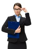 Businesswoman in glasses with folder Stock Photo