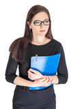 Businesswoman in glasses with folder. Portrait of happy smiling businesswoman in glasses with blue folder isolated on white background stock images