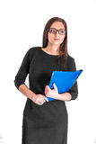 Businesswoman in glasses with folder. Portrait of pretty businesswoman in glasses with blue folder isolated on white background royalty free stock photo