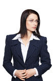 Businesswoman in glasses and formal suit isolated. Businesswoman in glasses and formal suit, isolated on white Stock Images