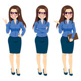 Businesswoman With Glasses Gestures Stock Images