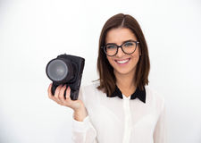 Businesswoman in glasses holding camera Royalty Free Stock Photography