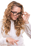 Businesswoman with glasses making decision with emotions Royalty Free Stock Photo