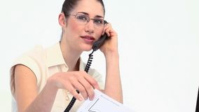 Businesswoman with glasses phoning Royalty Free Stock Photo