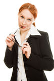 Businesswoman in glasses with red hair Royalty Free Stock Image