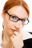 Businesswoman in glasses with red hair Stock Photography