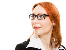 Businesswoman in glasses with the red hair Stock Image