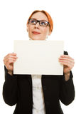 Businesswoman in glasses with the red hair Royalty Free Stock Image