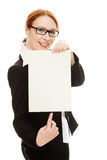 Businesswoman in glasses with the red hair Royalty Free Stock Photography
