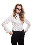 Businesswoman with glasses and serious looking Royalty Free Stock Images