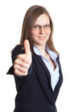Businesswoman with glasses showing thumb up Royalty Free Stock Photo