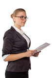 Businesswoman with glasses standing Stock Photo