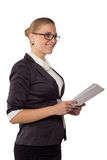 Businesswoman with glasses standing Royalty Free Stock Photos