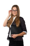 Businesswoman in glasses standing with folder Royalty Free Stock Image