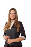 Businesswoman in glasses standing with folder Stock Photos