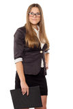 Businesswoman in glasses standing with folder Stock Photography