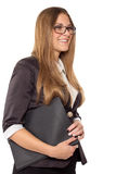 Businesswoman in glasses standing with folder. Isolated on white royalty free stock image